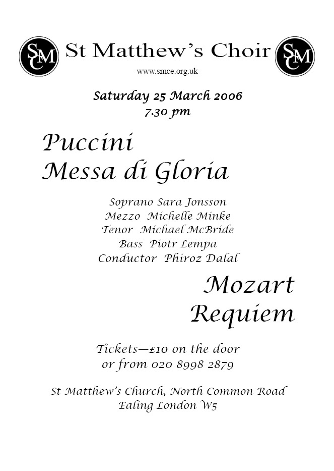 Puccini Messa di Gloria & Mozart Requiem